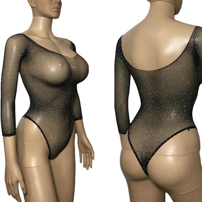 Sexy Frauen Kristall Diamant Mesh Glitter Sheer Teddies Langarm Dünne Trikot Body Unterwäsche Dessous Nacht Kleid