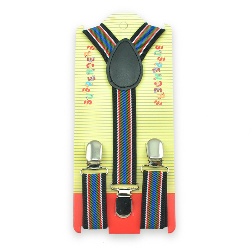 Retail Kids Braces 2.5cmx65cm Striped #19 Kids Suspenders Elastic Suspender For Children Girl Boy''s Y-shaped Suspender