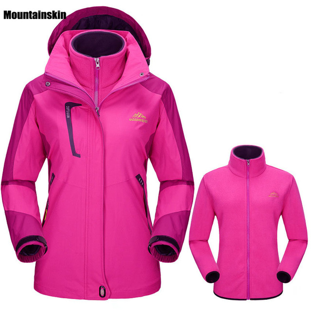 6e6156bbf0b72 US $44.84 22% OFF|Winter Women Softshell Jackets Outdoor Inside Fleece  Jacket Windproof Waterproof Thermal Coats For Ski Hiking Camping Trek  VB005-in ...