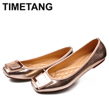 TIMETANG Gold Black Metal Summer Female Footwear Large Sizes 35-41 Square Toe Fashion Women's Flat Shoes Leisure Ballerinas C130