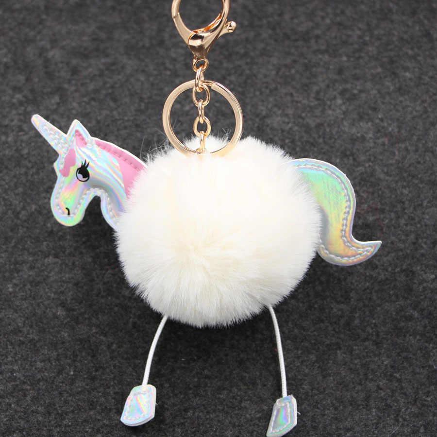 Lindo llavero de unicornio mullido Faux conejo piel bola Pom llaveros bolso dijes Trinket coche llavero Accesorios