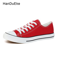 Classic Women Canvas Shoes Female Casual Sneakers For Woman Round Toe Lace Up Solid Red White