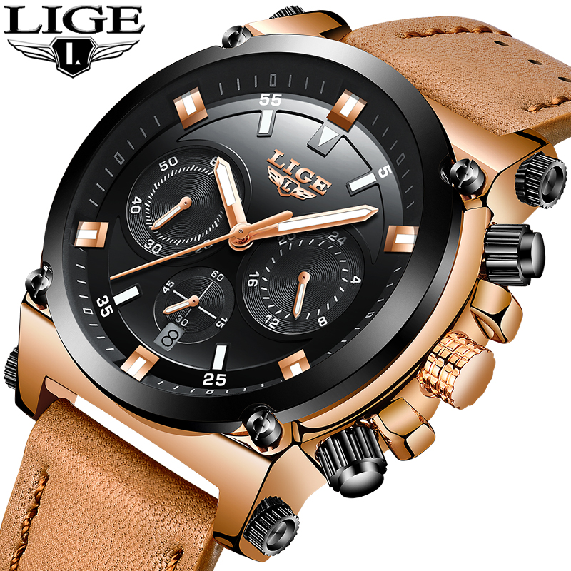 где купить 2018 LIGE mens watches top brand luxury quartz watch men leather military sports waterproof clock chronograph Relogio Masculino по лучшей цене