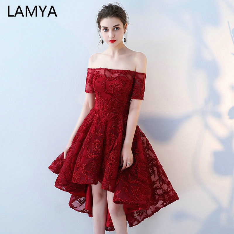 LAMYA Boat Neck With Short Sleeve   Prom     Dresses   Vintage Front Back Long Tail Banquet Evening   Dress   2019 High Low Back vestido de