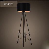 T Florr Lamp Black and White Fabric Chimney Iron Lamp For Reading Study Room Office Home Fashion Modern