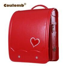 Coulomb Niños Mochila Ortopédicos Para School Girl Bag PU de Cuero Rojo del AMOR Princesa Bebé Mochilas Niños Mochilas 2017 Nueva