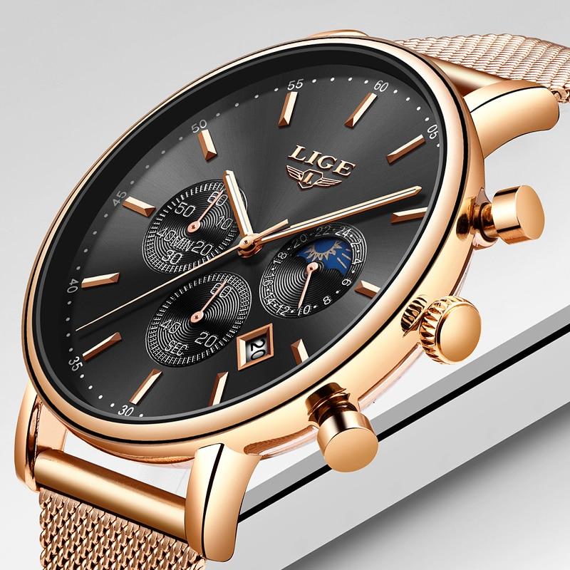 LIGE Mens Watches Top Brand Luxury Quartz Wristwatch Mem Grid strap All Steel Waterproof Sport Chronograph+Box Relogio Masculino наталья вихрова экономика производства виды ценных бумаг