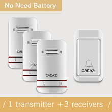 CACAZI New  Home Waterproof Wireless DoorBell No Need Battery Self Powered Electronic Door Bell With 1 Button+3 Receivers 1V3
