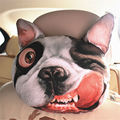 1pc Creative 3D SharPei Dog Face Car Neck Pillow Soft Auto Head Neck Rest Cushion Headrest Pillow Activated Carbon Seat Covers