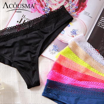 ACOUSMA Women G-String Hollow Out Lace Sexy T Back Thongs Panty Underwear Seamless Breathable Farbic Low Waist 8 Colors Optional 2