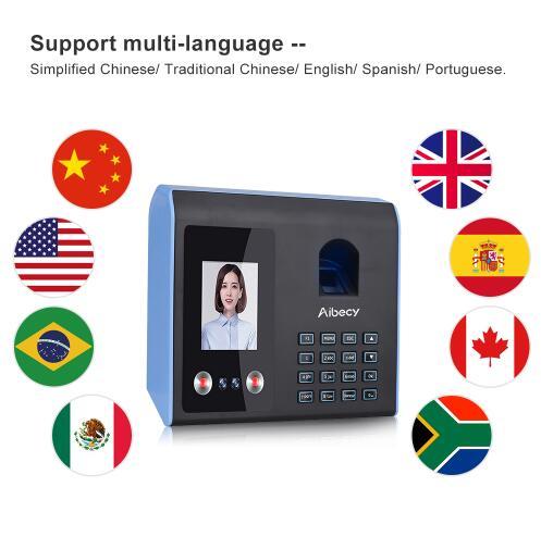 Intelligent Attendance Machine Face Fingerprint Password Recognition Mix Biometric Time Clock for Employees
