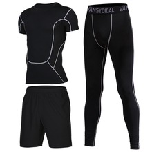Mens Running Suit Compression GYM Tights Set Dry Fit Sport Clothes Training Workout Jogging Sports Fitness for Men