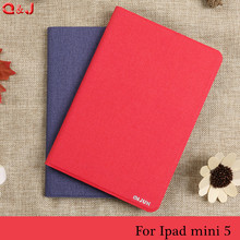 Case For New iPad mini 5 7.9 inch 2019 With Pencil Holder Smart Leather Cloth Texture Silicone case cover