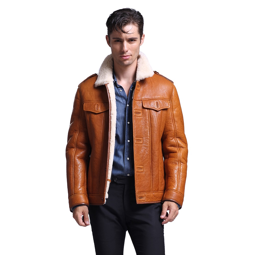 Natural leather jackets men hot thick sheep fur coat free shipping 187