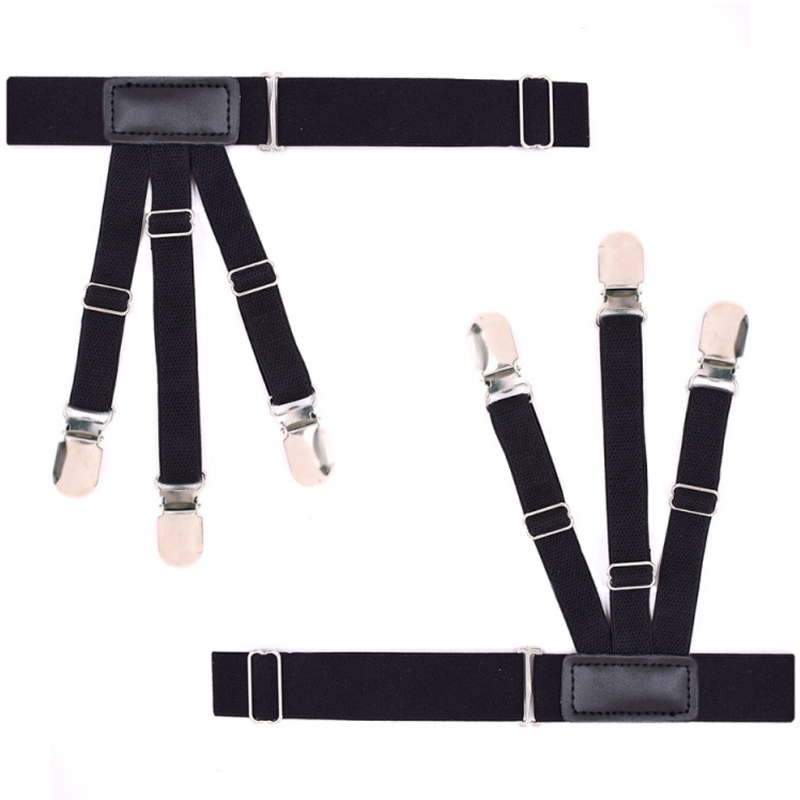 2Pcs Nylon Elastic Leg Suspenders Shirt Stays Holder Straps Metal Locking Clamps Black New