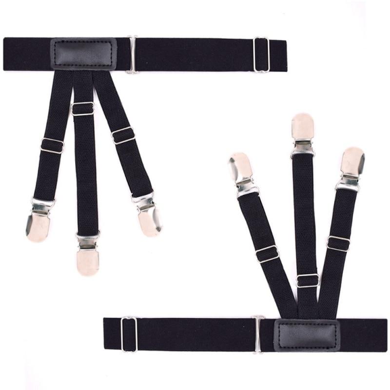 2Pcs Nylon Elastic Leg Suspenders Shirt Stays Holder Straps Metal Locking Clamps Black New
