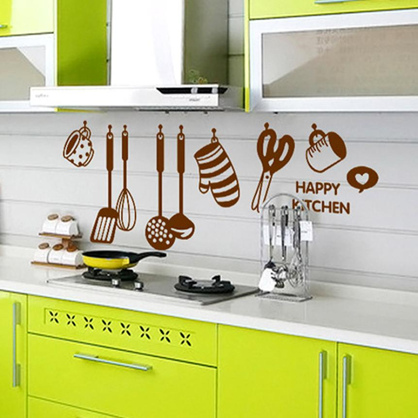 1PCS Happy Kitchen Vinyl Quote Restaurant Kitchen Removable Wall Stickers DIY Home Decor Wall Art MURAL Pegatinas De Pared   801