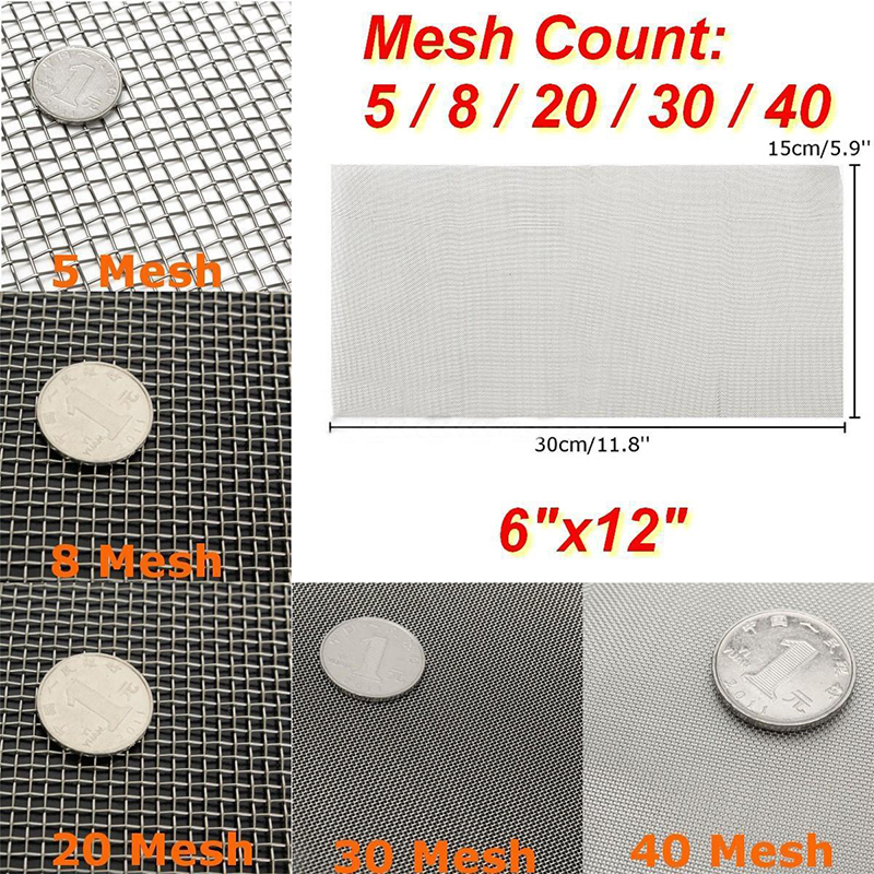 6x12'' 5/8/20/30/40 Mesh Stainless Steel Woven Cloth Screen Wire Filter Sheet