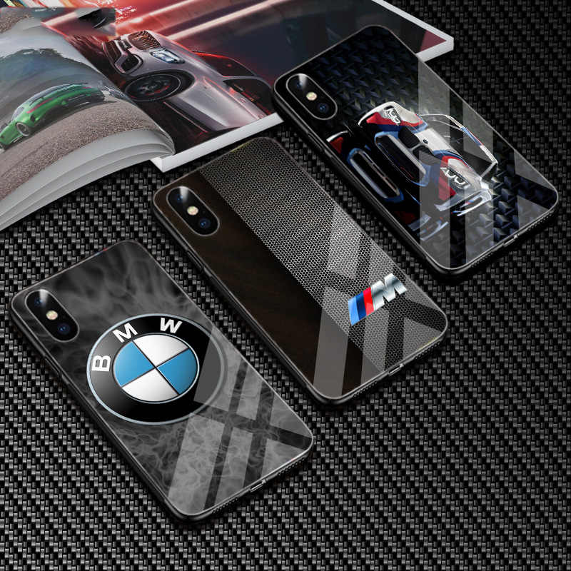 Luxury carbon BMW M Series logo Glass phone case cover for iphone 6 S plus 7 6b4d4c84358