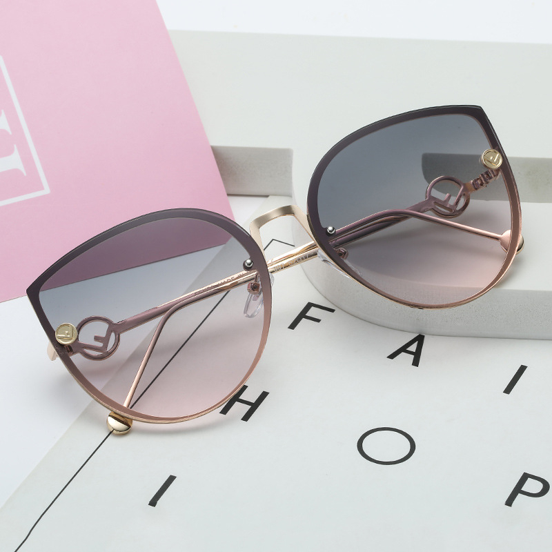 Sunglasses Women Rimless Cat-Eye Gradient Female UV400 Vintage Designer Lady Luxury Brand