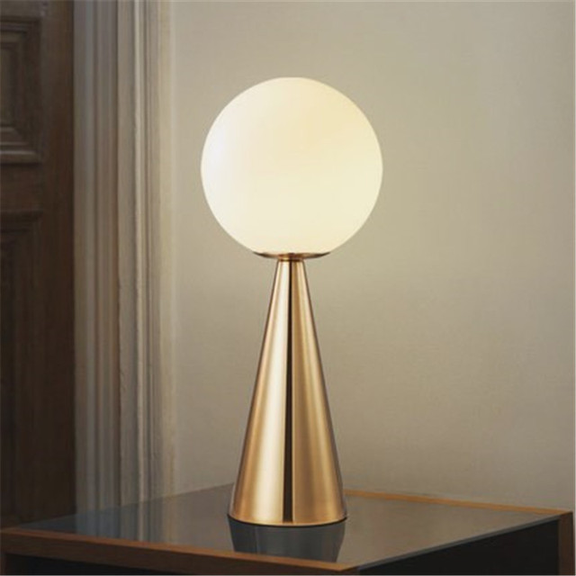 Postmodern Bedside Art Table Lamp Creative Cone Golden Glass Bedside Bar Cafe Livring Room Decoration Lamp Free Shipping