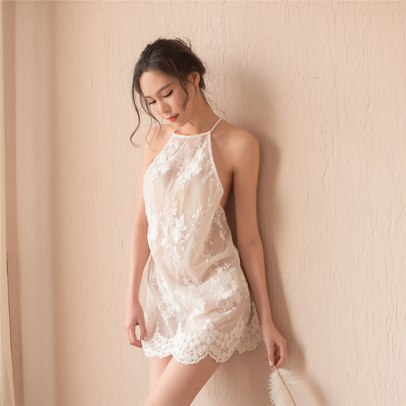 Women Sexy Lace Temptation Lingerie Sleepwear Underwear Nightdress Women summer soft Seamless sexy   nightgown     Sleepshirts   #15S