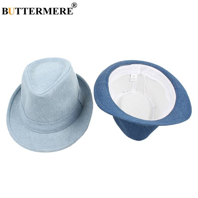56c46877673d2 BUTTERMERE Men Vintage Fedora Hats Denim Female Stylish Classic Casual Jazz Hat  Jeans Btitish Style Fancy Ladies Hats And Caps-in Fedoras from Apparel ...