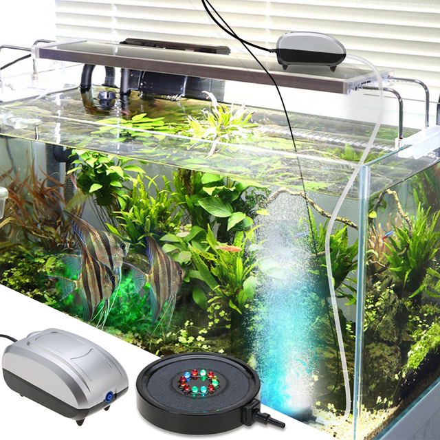 Submersible Bubble Curtain Light Color Changing 12 LED Fish Tank Aquarium  Lamp With High Output Air