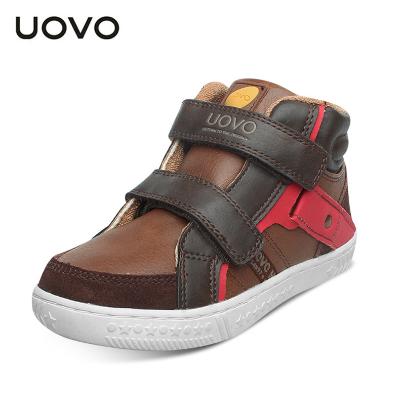Uovo Brand Suede+PU Leather Ankle Sneakers Size 27-37 Toddler/Teenage School Sport Shoes Spring Autumn Children Casual Shoes uovo brand kids spring autumn new sport shoes for girls green color casual sneakers kids fashion canvas shoe zapatos eu 30 37