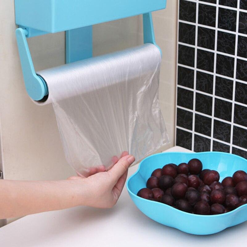 Magnetic Refrigerator Shelf Kitchen Storage Rack Bottle Rack Cling Food Plastic Wrap Holder blue FULI