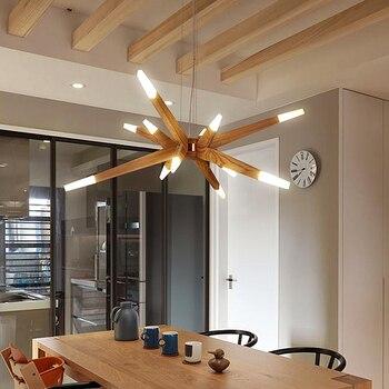 Modernas luces con palo para comedor moderno Suspensión de madera colgante  lámpara de luces para comedor creativo lámpara colgante