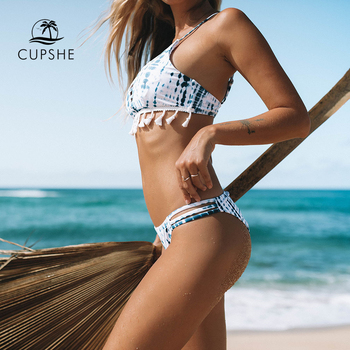 CUPSHE Blue Tie-dye Blue Bikini Set Women Lace Up Tassel Thong Two Pieces Swimwear 2020 Girl Beach Bathing Suits Swimsuits 1