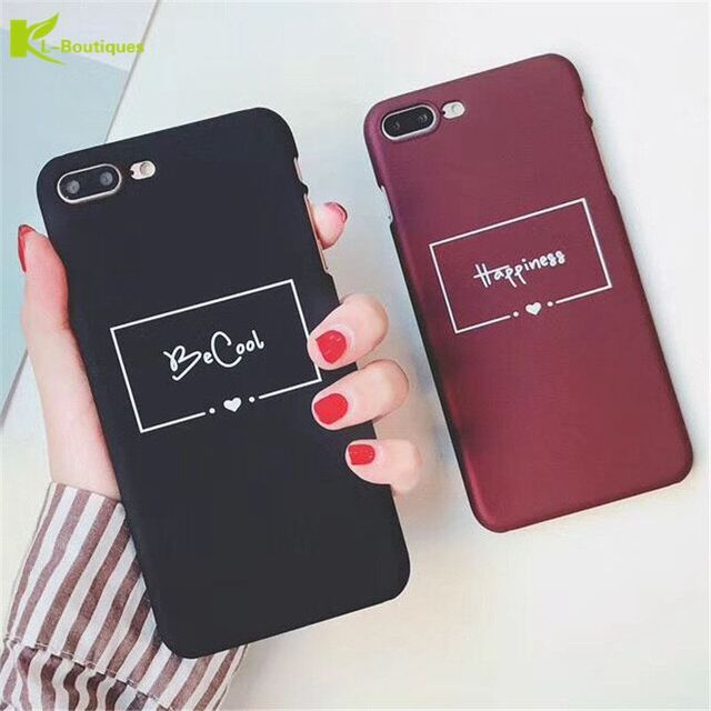 b4d9844549 KL-Boutiques Cartoon Letter For iPhone 5 5S SE Case Couple Hard Scrub Back  Cover For iPhone 8 7 6 6S Plus Slim Phone Cases