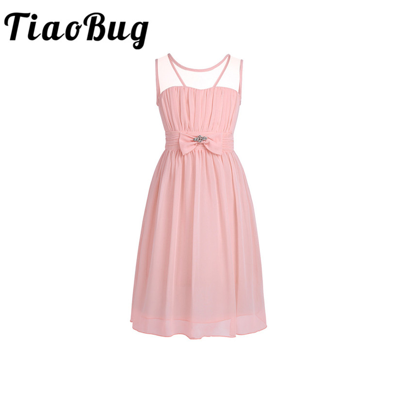 Tiaobug Girls Chiffon Flower Girls Dresses First Communion Birthday Party Prom Dress Sweet Design Elegant Ball Gowns Tulle Dress