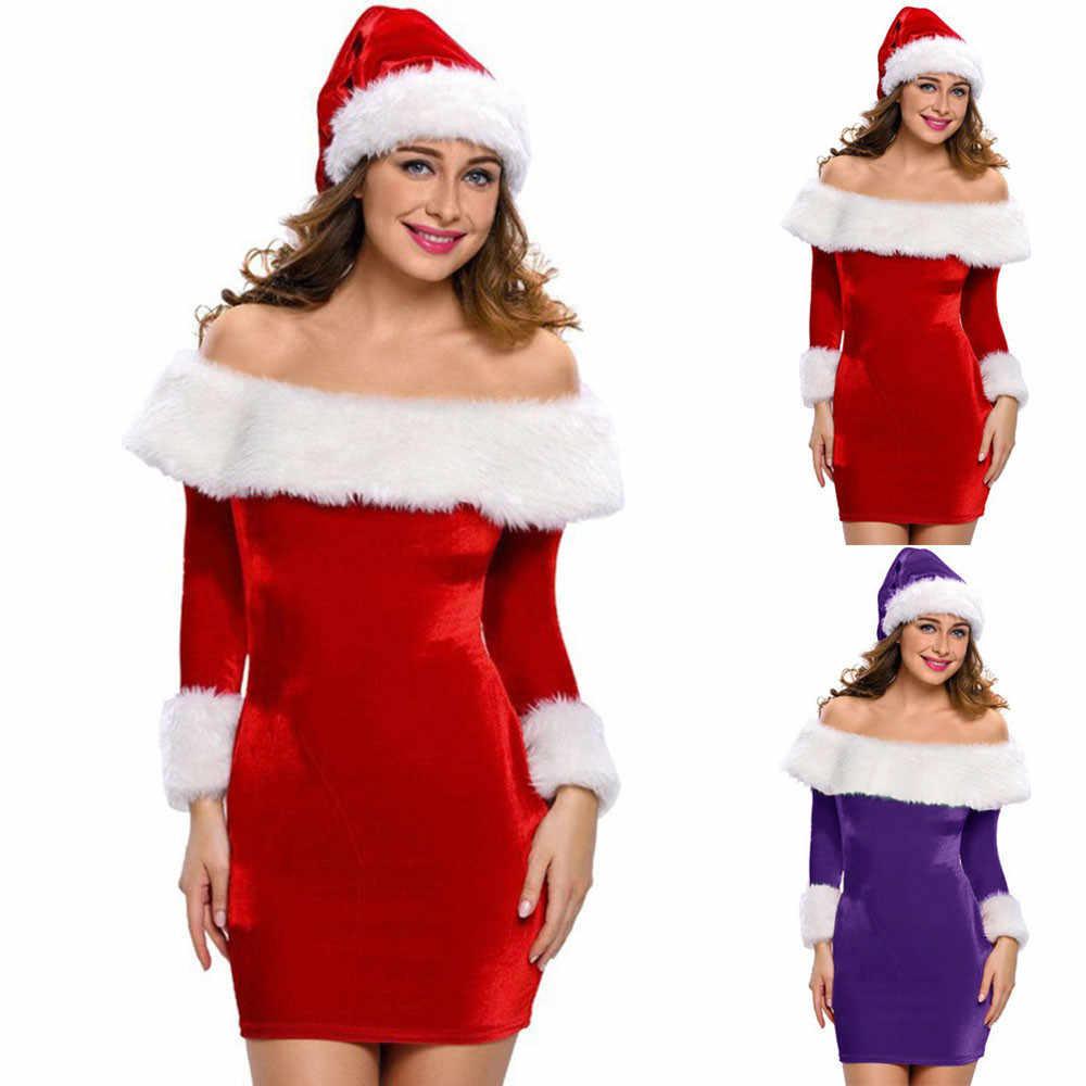 2018 Christmas Sexy Mini Dresses Female Santa Claus Bodycon Dresse Off  Shoulder Long Sleeve Party Women 35a16b6b66b7