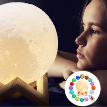 2/16 Colors LED Desk Lamp 3D Moon Table Lamps USB Rechargeable Bedroom Led Children's Night Light Home Art Deco Creative Gifts(China)