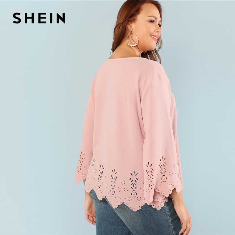 96063bde1f ... SHEIN Laser Cut Solid Top 2018 Summer Round Neck Three Quarter Length  Flounce Sleeve Plus Size ...