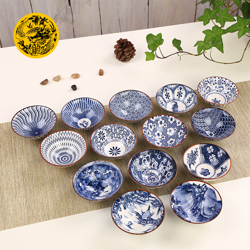 Ceramic Tea Cup 100ml Blue And White Porcelain Teacup Kung Fu Tea Set Japanese Style Handmade Painted Drawn Small Tea Bowl