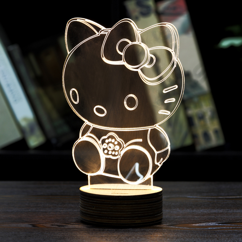 MOZA 1Piece 3D Hello kitty NIGHT LAMP Acrylic Wood Mood