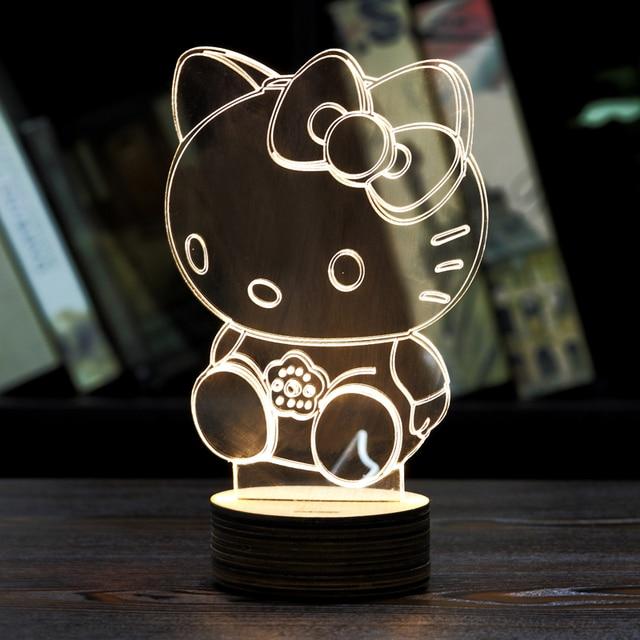 MOZA Piece D Hello Kitty NIGHT LAMP Acrylic Wood Mood Lamp - Hello kitty lamps for bedroom