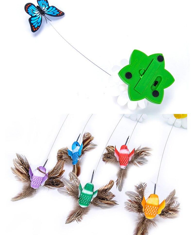 Elektrisk Roterende Farverige Butterfly Funny Hund Kat Legetøj Bird Pet Seat Scratch Legetøj Til-7611
