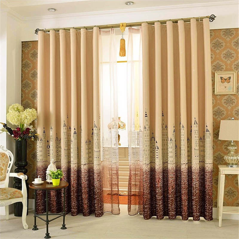 Single Panel Punching Window Curtains Mediterranean Bedroom Balcony Castle City European Style Blackout Custom In From Home Garden