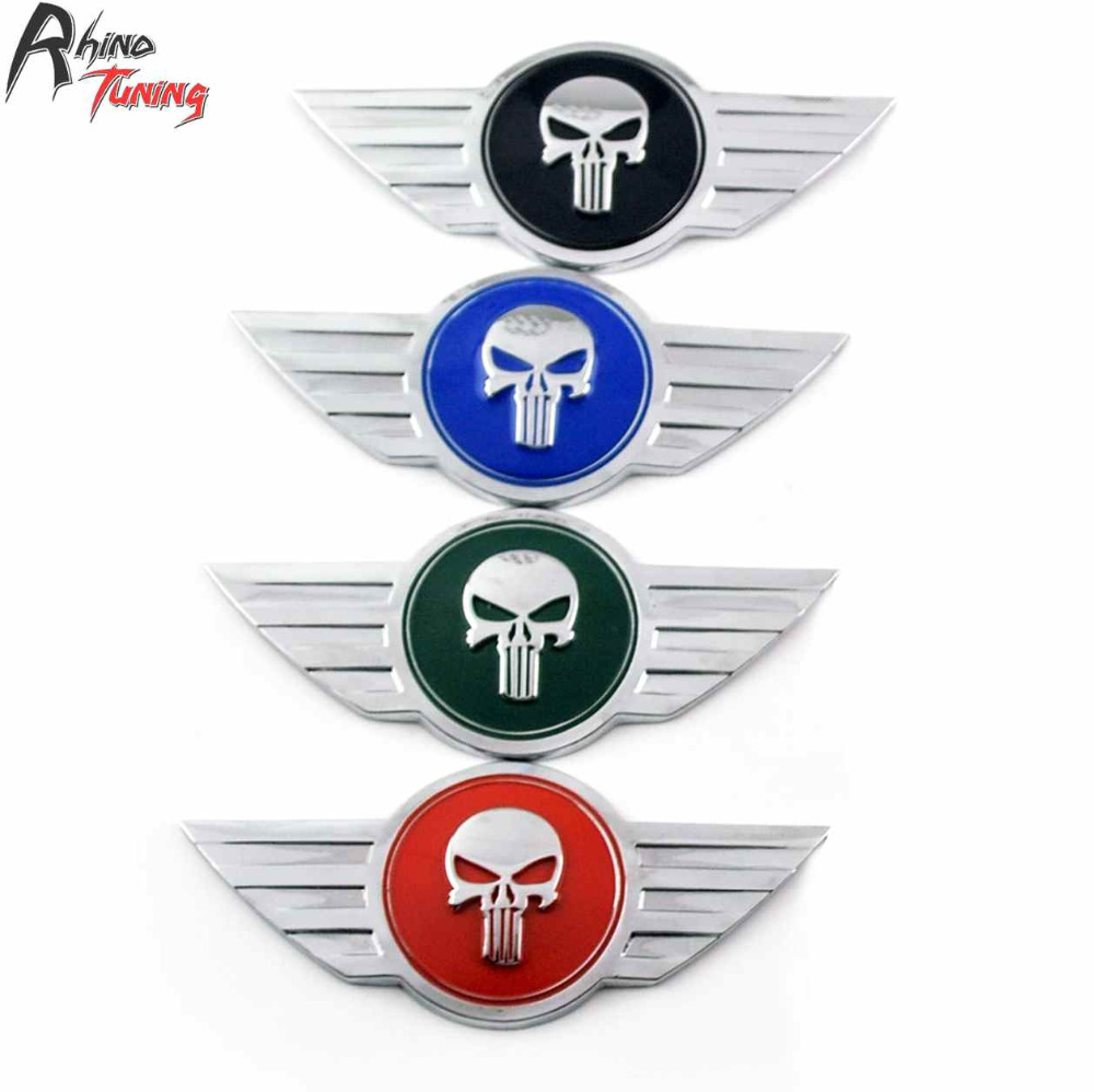 Rhino Tuning The Punisher Car Trunk Boot Emblem Auto Styling Skull Badge Metal Sticker For R50 R53 R56 F55 F56 Cabrio R52 615
