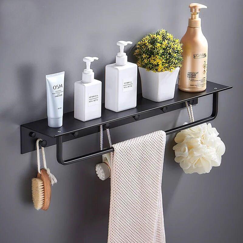 Nail Free Space Aluminum Bathroom Shelf Black Bathroom Shelves Rack with Hooks Wall Mounted Corner Multifunction