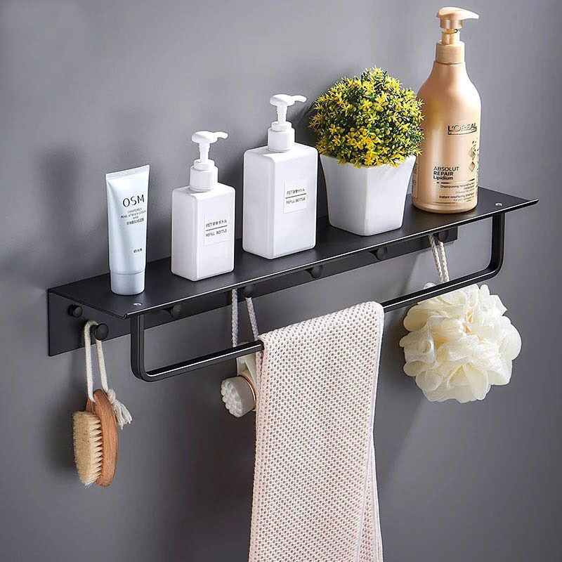 Nail Free Space Aluminum Bathroom Shelf Black Bathroom Shelves Rack with Hooks Wall Mounted Corner Multifunction Shelf F цена