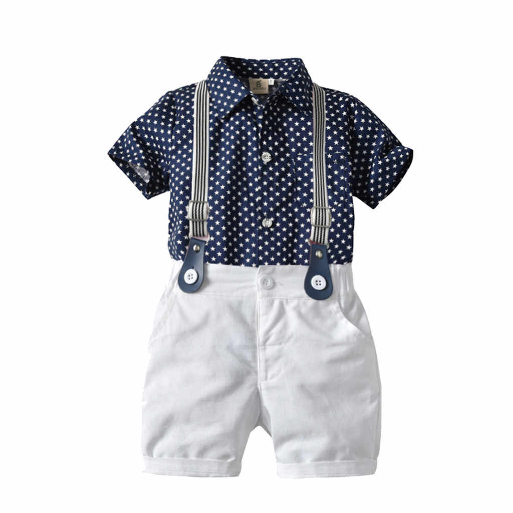 Summer Toddler Boy Clothes Sets 2019 Boy Stars Print Shirt+Shorts Bow Children Clothing Gentleman Suit Kids Dresses For Boys