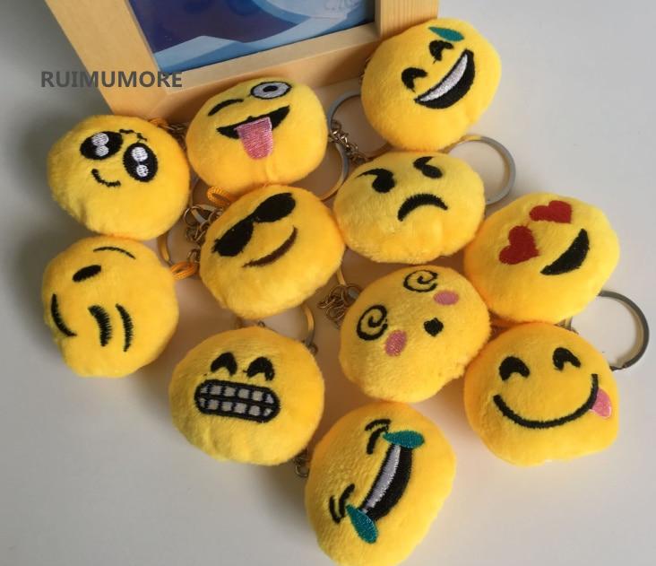 Super śliczne Mini 100 sztuk emoji 4 cm nowy rozmiar, pluszowe wypchane zabawki; klucz pierścień hak łańcuch wisiorek zabawki pluszowe w Pluszowe zwierzęta od Zabawki i hobby na  Grupa 1