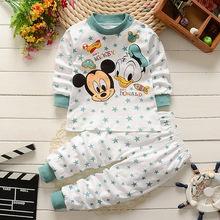 Комплект одежды для малышей от 0 до 2 лет, зимняя хлопковая одежда для новорожденных мальчиков и девочек детские пижамы с Микки Маусом из 2 предметов комплекты детской одежды унисекс