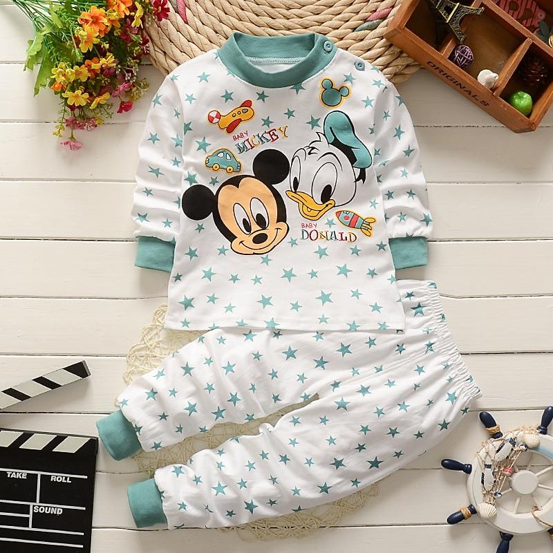 Комплект одежды для малышей от 0 до 2 лет, зимняя хлопковая одежда для новорожденных мальчиков и девочек пижамы для малышей с Микки Маусом из 2 предметов комплекты детской одежды унисекс