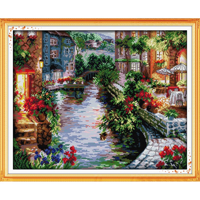Everlasting love Christmas The lakeside houses Ecological cotton Cross Stitch 11 14CT Printed DIY christmas decorations for home